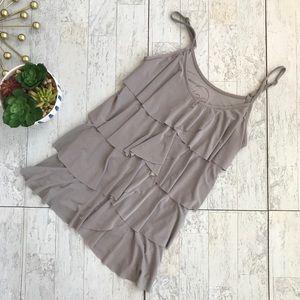 INC ruffled beige knit cami tank top size medium
